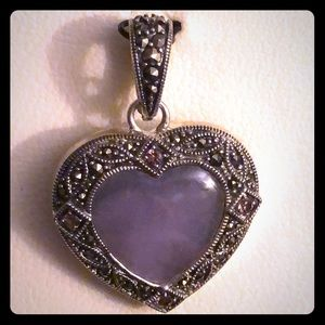 Vintage -Sterling Silver Marcasite Purple Heart💜